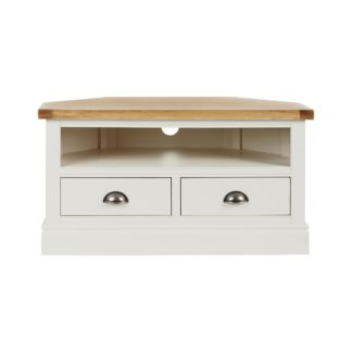 An Image of Compton Ivory Corner TV Stand Cream and Brown