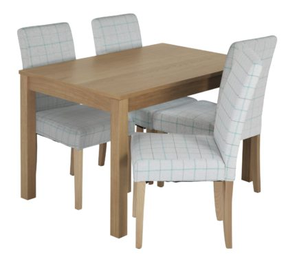 An Image of Habitat Clifton Oak Veneer Table & 4 Light Grey Chairs
