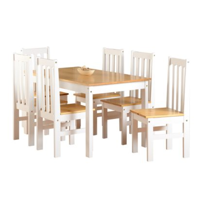 An Image of Ludlow 6 Seater Dining Set White and Brown