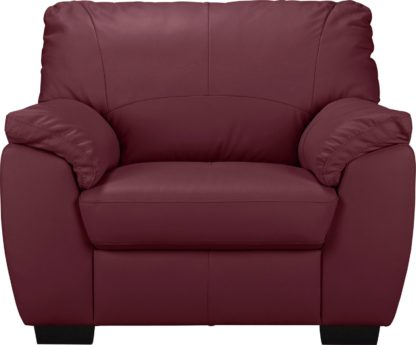 An Image of Argos Home Milano Leather Armchair - Burgundy