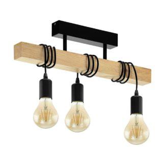 An Image of Eglo Townshend 3L Flush Bar Ceiling Light - Black