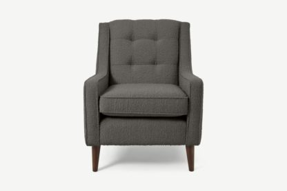 An Image of Content by Terence Conran Tobias Armchair, Charcoal Grey Boucle with Dark Wood Leg