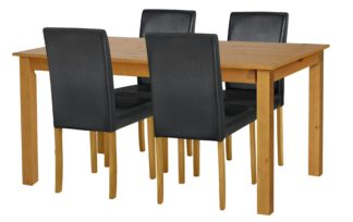 An Image of Habitat Ashdon Solid Wood Dining Table & 4 Black Chairs