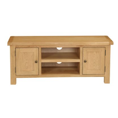An Image of Sherbourne Oak Large TV Stand Natural