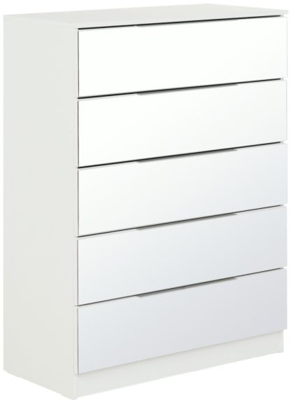 An Image of Argos Home Sandon 5 Drawer Chest - White and Mirrored
