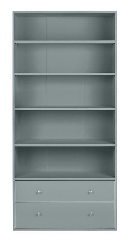 An Image of Habitat Maine 4 Shelves 2 Drawer Bookcase - Grey
