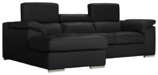 An Image of Argos Home Valencia Right Corner Leather Sofa - Black