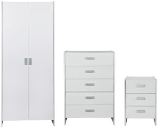An Image of Argos Home Capella 3 Piece 2 Door Wardrobe Set - White