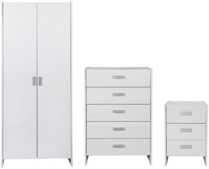 An Image of Argos Home Capella 3 Piece 2 Door Wardrobe Set - White