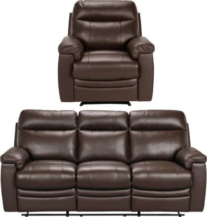 An Image of Argos Home Paolo Chair & 3 Seater Manual Recline Sofa -Brown