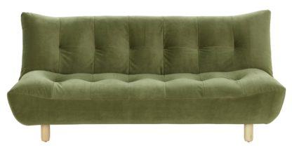 An Image of Habitat Kota 3 Seater Velvet Clic Clac Sofa - Green