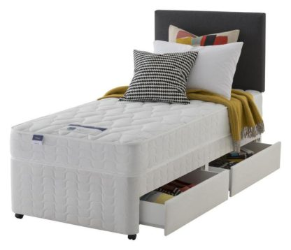 An Image of Silentnight Travis Microquilt 2 Drw Single Divan Bed - White
