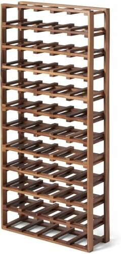 An Image of Clover 55-Bottle Wine Rack, Natural Acacia Wood