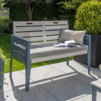 An Image of Galaxy 2 Seater Cushioned Bench Grey