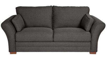 An Image of Argos Home Thornton 3 Seater Fabric Sofa - Light Grey