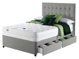 An Image of Silentnight Knightly 2000 4 Drawer Kingsize Divan Bed - Grey