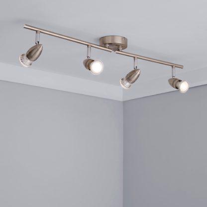An Image of 4 Light Satin Silver Spotlight Silver