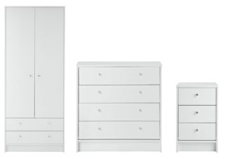 An Image of Habitat Malibu 3 Piece 2 Door Wardrobe Set - White