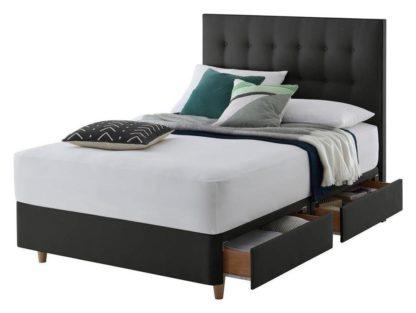 An Image of Silentnight Alaro 4 Drawer Kingsize Divan Bed - Ebony