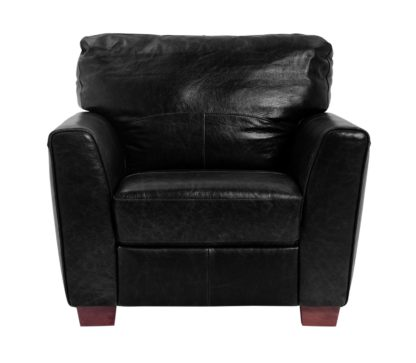 An Image of Habitat Milford Leather Chair - Black