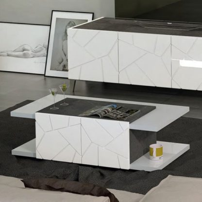 An Image of Venice Coffee Table In White High Gloss And Slate Effect Details