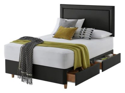 An Image of Silentnight Toulouse Small Double 4 Drw Divan Set - Charcoal