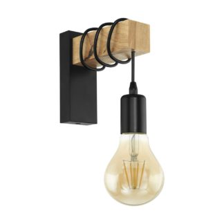 An Image of Eglo Townshend Hung Wall Light - Black Oak
