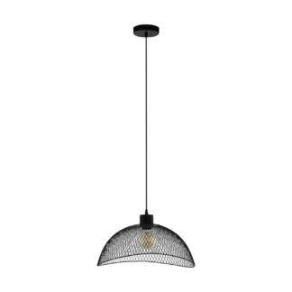 An Image of Eglo Pompeya Mesh Pendant Light - Black