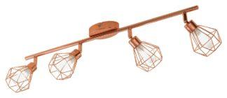 An Image of Eglo Zapata 4 Light Spotlight Bar - Copper