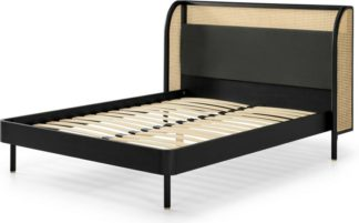 An Image of Ankhara King Size Bed, Rattan & Black Stain Oak, Dark Anthracite Velvet