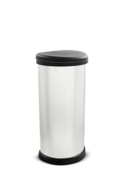 An Image of Curver 40 Litre Deco Touch Top Kitchen Bin - Silver