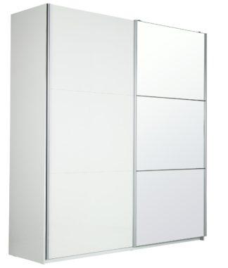 An Image of Habitat Holsted Lrg White Gloss &Mirror Sliding Wardrobe