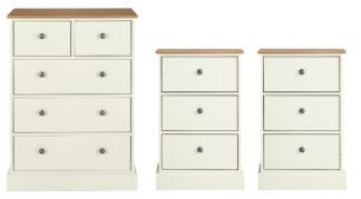 An Image of Argos Home Kensington 2Bedside & 3+2Drw Set-Ivory/Oak Veneer