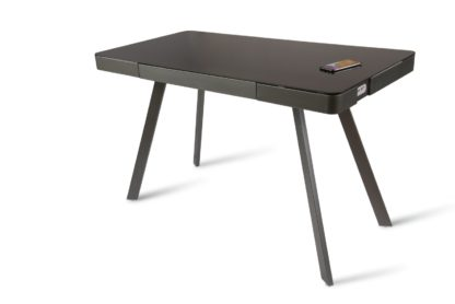 An Image of Koble Silas Wireless Charging Glass Desk - Charcoal