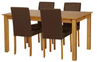 An Image of Habitat Ashdon Solid Wood Table & 4 Chocolate Chairs