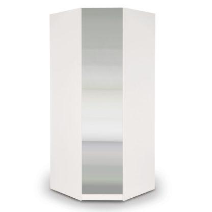 An Image of Angel Mirrored Corner Wardrobe White