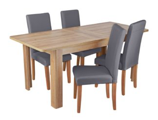 An Image of Habitat Miami Curve Extending Table & 4 Charcoal Chairs