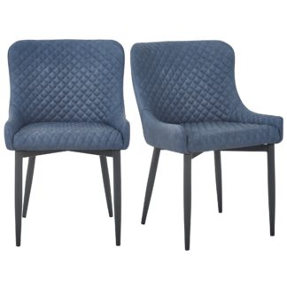 An Image of Montreal Set of 2 Dining Chairs Navy PU Leather Navy