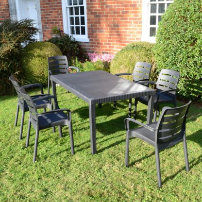 An Image of Trabella Salerno 6 Seater Dining Set with Siena Chairs Grey