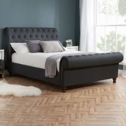 An Image of Castello Charcoal Sleigh Fabric Bed Frame Charcoal