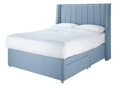 An Image of Sleepeezee 2000 Hybrid Double 2 Drawer Divan - Blue
