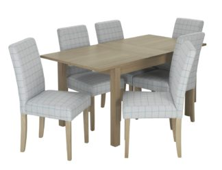 An Image of Habitat Clifton Extending Table & 6 Chairs - Light Grey