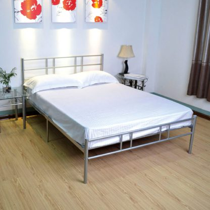 An Image of Morgan Silver Metal Bed Frame Silver