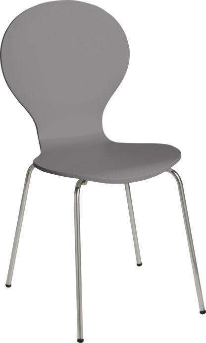 An Image of Habitat Bentwood Metal Dining Chair - Jet Grey