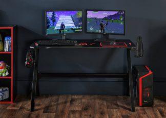 An Image of Virtuoso Velar LED Gaming Desk - Black