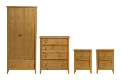 An Image of Colorado 4 Piece 2 Door Wardrobe Set - Pine