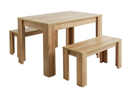 An Image of Habitat Miami Oak Effect Dining Table & 2 Benches