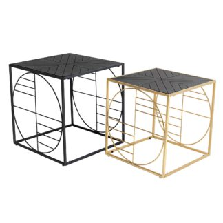 An Image of Set of 2 Linton Side Tables, Black and Gold