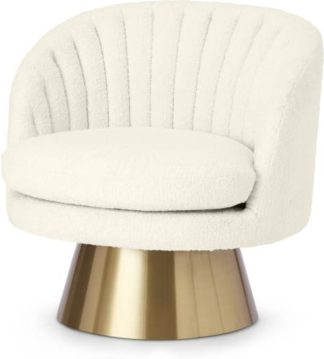 An Image of Sylvie Swivel Accent Armchair, Whitewash Boucle