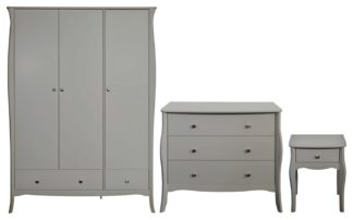 An Image of Amelie 3 Piece 3 Door 2 Drawer Wardrobe Set -Grey